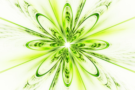 Abstract fractal flower on white background. Fantasy design in bright green and yellow colors. Stock Photo