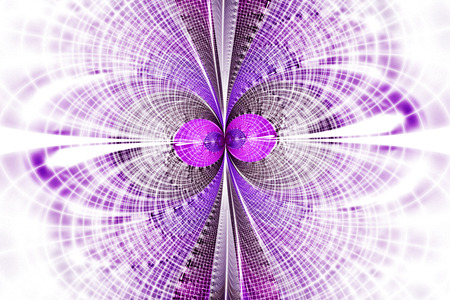 fractal pink: Mosaic reflections on white background. Symmetrical pattern in pink and purple colors. Fantasy fractal design. Digital art. 3D rendering.