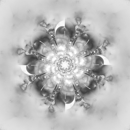 hypnotize: Abstract flower mandala on white background. Intricate symmetrical pattern in black and white colors. Fantasy fractal design for posters, postcards, wallpapers or t-shirts. Digital art. 3D rendering. Stock Photo