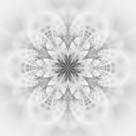 Abstract monochrome flower mandala on white background. Symmetrical pattern in black and white colors. Fantasy fractal design for postcards, wallpapers, posters or t-shirts. Digital art. 3D rendering.