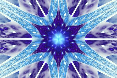 Abstract symmetrical floral ornament on white background. Fantasy fractal design in blue colors. Digital art. 3D render.