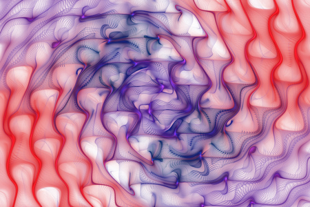 Abstract colorful waves on white background. Fantasy fractal texture in red, purple and navy blue colors. Digital art. 3D rendering. Stock Photo