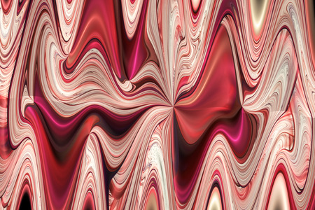 Abstract colorful red, pink, brown and beige curls. Intricate fractal texture. Fantasy design for posters or greeting cards. Digital art. 3D rendering.
