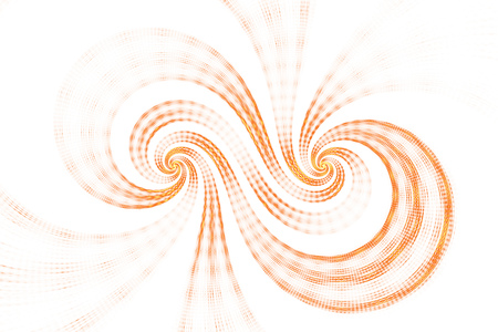 Abstract swirls on white background. Digital artwork in bright orange and yellow colors. 3D rendering.