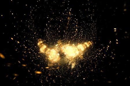 supernova: Supernova explosion. Abstract colorful golden sparks on black background. Fantasy fractal texture for posters, postcards or t-shirts.