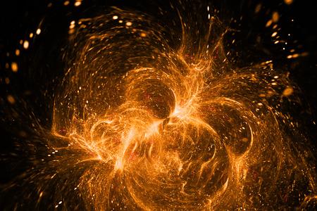 supernova: Supernova explosion. Abstract colorful orange sparks on black background. Fantasy fractal texture for posters, postcards or t-shirts.