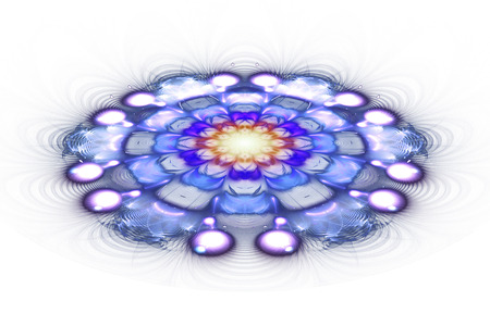 Exotic flower. Abstract mandala on white background. Fantasy fractal design in beige and blue colors. Digital art. 3D rendering. Stock Photo
