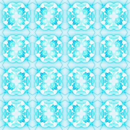 Abstract colorful seamless pattern on white background. Fractal ornament in bright turquoise colors. Fantasy geometric design for wallpapers or fabric. Digital art. 3D rendering.