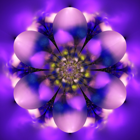 Abstract exotic flower. Psychedelic mandala design in pink and purple colors. Fantasy fractal art. 3D rendering. Stock Photo
