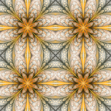 digital design: Abstract seamless ornament on white background. Symmetric fractal pattern in orange, beige, grey and green colors. Creative design for wallpapers or textile. Digital art. 3D rendering.