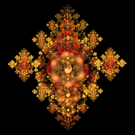 Abstract crystal red and golden mechanism on black background. Fractal art. 3D rendering. Stock Photo