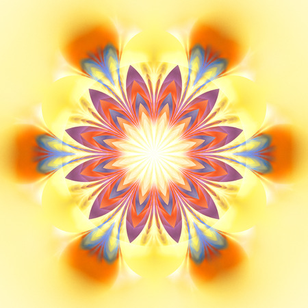 Abstract exotic flower. Psychedelic mandala design in bright yellow, orange, red and blue colors. Fantasy fractal art. 3D rendering.