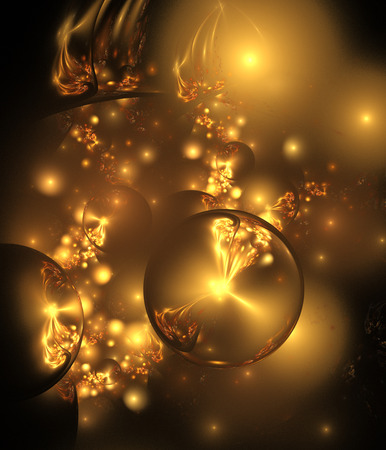 fire flower: Abstract glossy golden seeds on black background. Fantasy fractal art. 3D rendering.