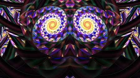 Abstrakte symmetrische Mosaikverzierung auf schwarzem Hintergrund. Fantasie-Fractalgrafik in den gelben, blauen, purpurroten und grünen Farben. 3D-Rendering.