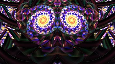 Ornamento simétrico abstracto del mosaico en fondo negro. Ilustraciones del fractal de la fantasía en colores amarillos, azules, púrpuras y verdes. Representación 3D