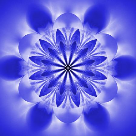 Abstract exotic flower. Psychedelic mandala design in royal blue colors. Fantasy fractal art. 3D rendering.