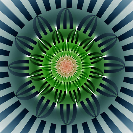 Abstract exotic flower. Psychedelic mandala design in dark green, orange and navy blue colors. Fantasy fractal art. 3D rendering.
