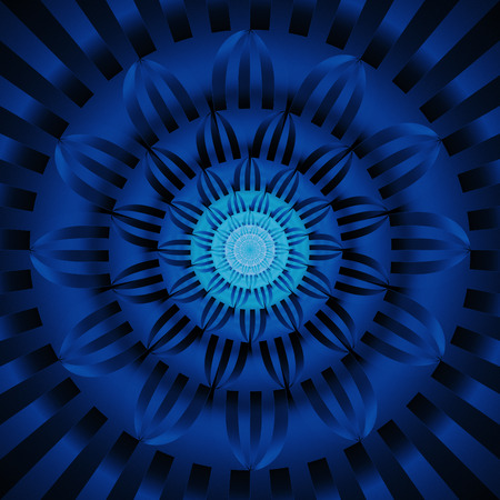 Abstract exotic flower. Psychedelic mandala design in dark blue and black colors. Fantasy fractal art. 3D rendering. Stock Photo