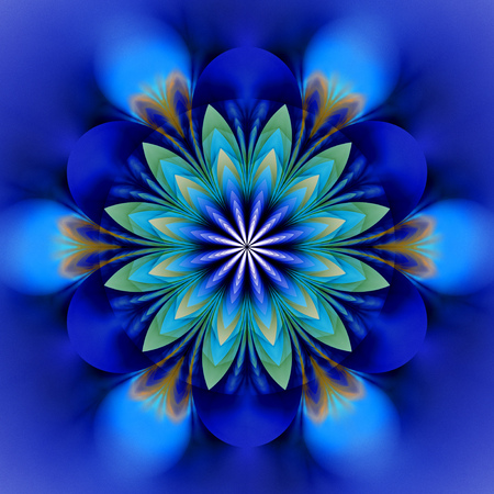 Abstract exotic flower. Psychedelic mandala design in royal blue, black and green colors. Fantasy fractal art. 3D rendering. Stock Photo
