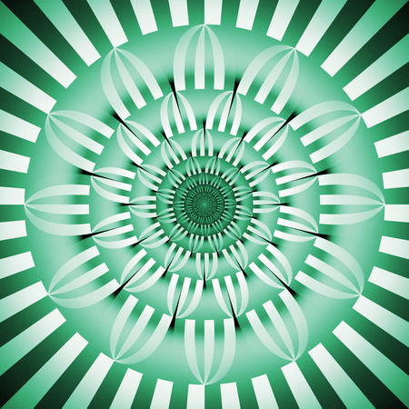 Abstract exotic flower. Psychedelic mandala design in emerald green and black colors. Fantasy fractal art. 3D rendering.