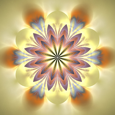 Abstract exotic flower. Psychedelic mandala design in light pink, orange, beige and blue colors. Fantasy fractal art. 3D rendering. Stock Photo