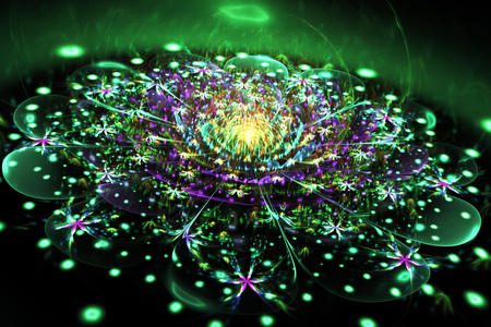Abstract exotic flower with glowing sparkles on black background. Fantasy fractal design in green, yellow and purple colors. Psychedelic digital art. 3D rendering. Stockfoto