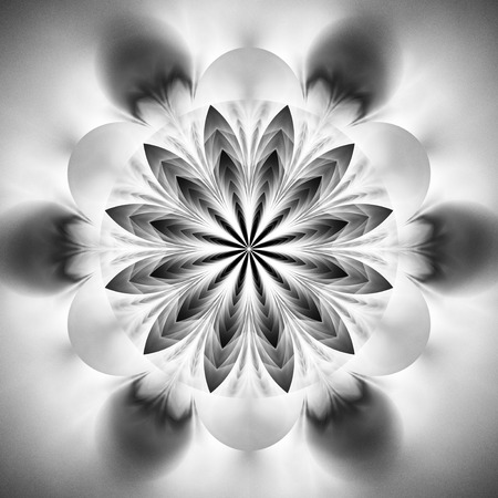 Abstract exotic flower. Psychedelic mandala design in black and white colors. Fantasy fractal art. 3D rendering.