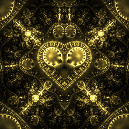 hypnotize: Abstract ornamented steampunk heart. Fantasy detailed fractal background in golden colors. Digital art. 3D rendering.