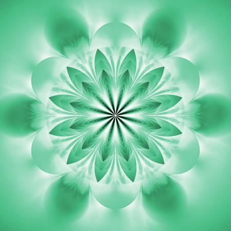Abstract exotic flower. Psychedelic mandala design in light blue colors. Fantasy fractal art. 3D rendering.