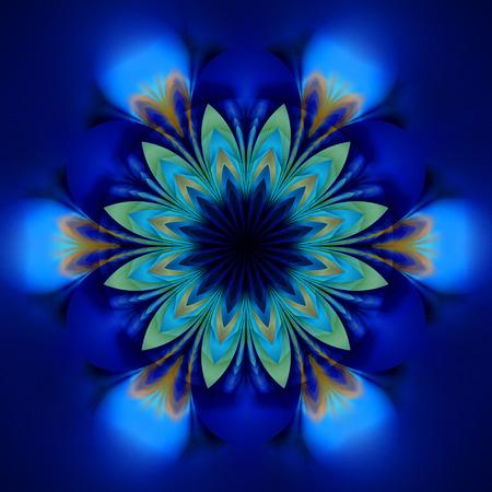 Astratto fiore esotico Disegno di mandala psichedelico nei colori blu royal, nero e verde. Fantasia arte frattale. Rendering 3D