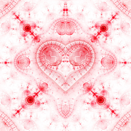 Abstract ornamented steampunk heart. Fantasy detailed fractal background in light red colors. Digital art. 3D rendering.