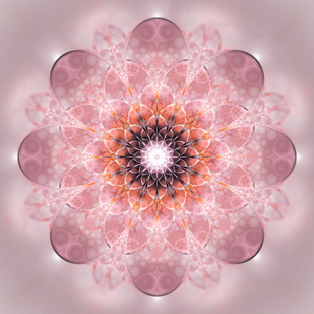 Abstract exotic flower. Psychedelic mandala design in light pink and grey colors. Fantasy fractal art. 3D rendering.