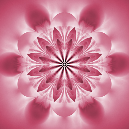 Abstract exotic flower. Psychedelic mandala design in light pink colors. Fantasy fractal art. 3D rendering. Stock Photo