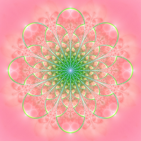 Abstract exotic flower. Psychedelic mandala design in bright pink and green colors. Fantasy fractal art. 3D rendering.