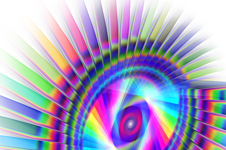Abstract rainbow shapes on white background. Fantasy fractal design. Psychedelic digital art. 3D rendering.