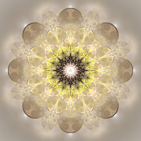 Abstract exotic flower. Psychedelic mandala design in yellow, beige and grey colors. Fantasy fractal art. 3D rendering.