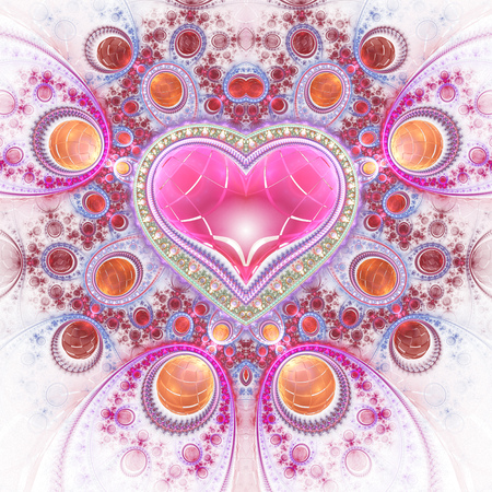 Abstract ornamented heart with gems. Fantasy detailed fractal background in pink, red and orange colors. Digital art. 3D rendering.
