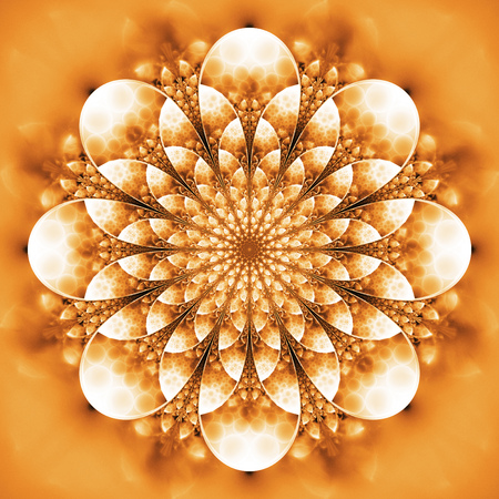 Abstract exotic flower. Psychedelic mandala design in bright orange and white colors. Fantasy fractal art. 3D rendering.