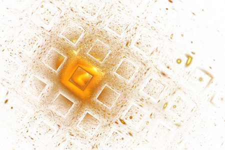 hyperspace: Abstract geometric texture with golden sparkles on white background. Fantasy fractal design. Digital art. 3D rendering. Stock Photo