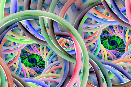Abstract colorful spirals. Fantasy fractal background in blue, pink, orange, grey and green colors. Digital art. 3D rendering.