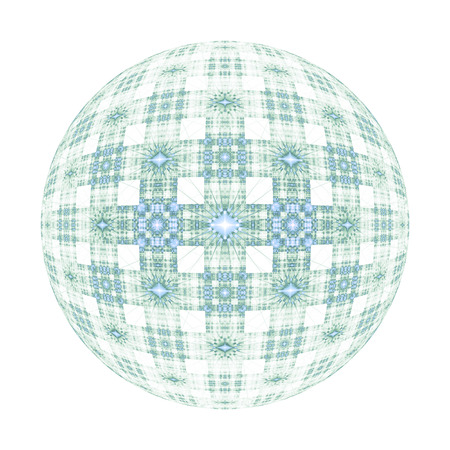 hyperspace: Abstract ornamented sphere on white background. Fantasy fractal design in faded blue colors. Psychedelic digital art. 3D rendering.