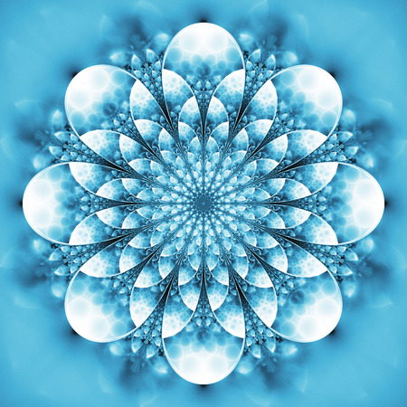 Abstract exotic flower. Psychedelic mandala design in light blue colors. Fantasy fractal art. 3D rendering.