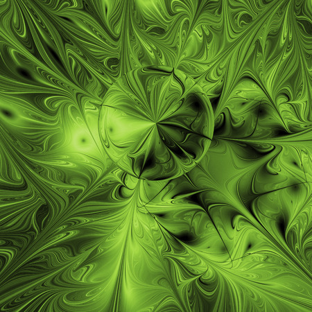 ripple effect: Abstract rippled glossy texture in green colors. Fantasy fractal background. Digital art. 3D rendering. Stock Photo
