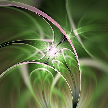 Abstract exotic flower. Psychedelic asymmetrical design in green and pink colors. Fantasy fractal art. 3D rendering.