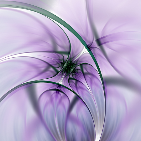 Abstract exotic flower. Psychedelic asymmetrical design in violet, dark green and black colors. Fantasy fractal art. 3D rendering.