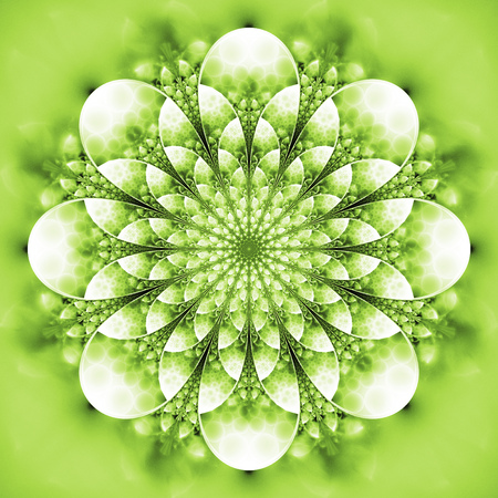 Abstract exotic flower. Psychedelic mandala design in bright green and white colors. Fantasy fractal art. 3D rendering.