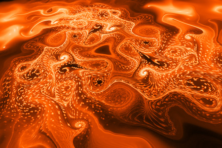 Abstract glowing orange waves. Psychedelic fractal texture. Digital art. 3D rendering. Stock Photo
