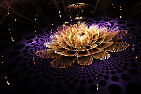 Abstract rose flower with glowing sparkles on black background. Fantasy fractal design in purple and orange colors. Psychedelic digital art. 3D rendering.