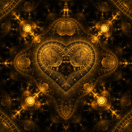 Abstract ornamented steampunk heart. Fantasy detailed fractal background in golden colors. Digital art. 3D rendering.