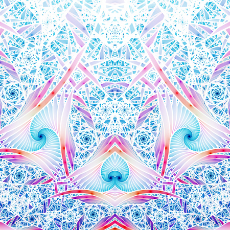 hyperspace: Abstract intricate blue and pink mosaic ornament. Fantasy fractal background. Digital art. 3D rendering.